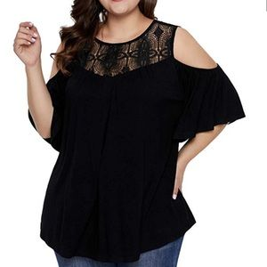 Plus size cold shoulder tunic